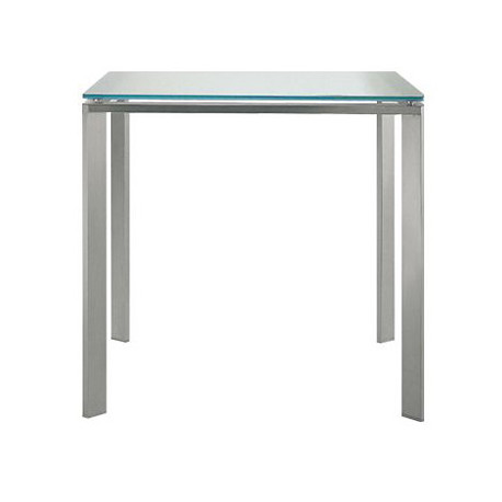 Logico table carrée, Pedrali, plateau en verre dépoli 90x90cm
