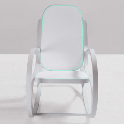 Rock me, rocking chair, Seletti blanc, textile gris clair, bleu clair