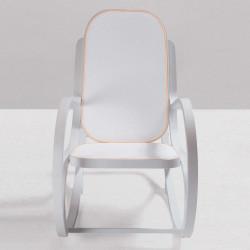 Rock me, rocking chair, Seletti blanc, textile gris clair, rose poudré