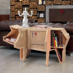 Bibliothèque Cochon Sending Animals, Seletti bois