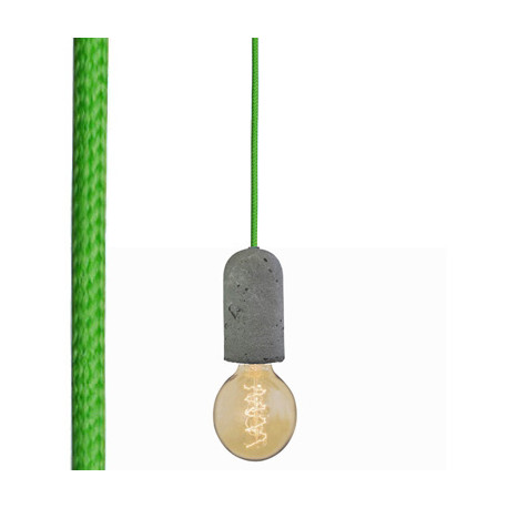 Suspension colorée douille béton, Nud Collection vert gazon