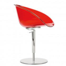 Fauteuil design pivotant Gliss 951, Pedrali hauteur réglable rouge transparent