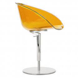Fauteuil design pivotant Gliss 951, Pedrali hauteur réglable orange transparent