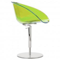 Fauteuil design pivotant Gliss 951, Pedrali hauteur réglable vert transparent