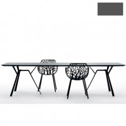 Table rectangulaire Radice Quadra, Fast gris métal Longueur 150 cm