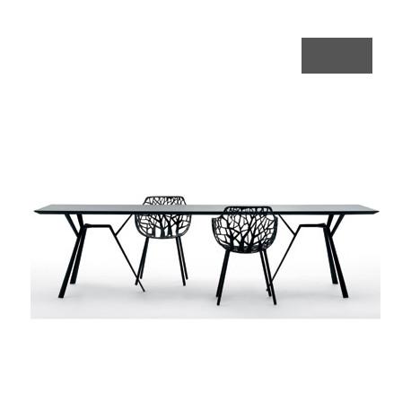 Table rectangulaire Radice Quadra, Fast gris métal Longueur 150 cm