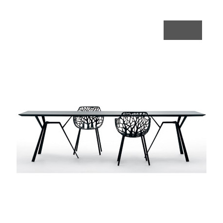 Table rectangulaire Radice Quadra, Fast gris métal Longueur 200 cm