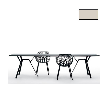 Table rectangulaire Radice Quadra, Fast or perlé Longueur 290 cm