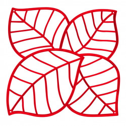 20 carrés séparations design Leaf, Koziol rouge transparent