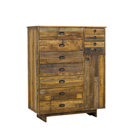 Commode 11 tiroirs en pin recyclé Baxter, Hanjel bois