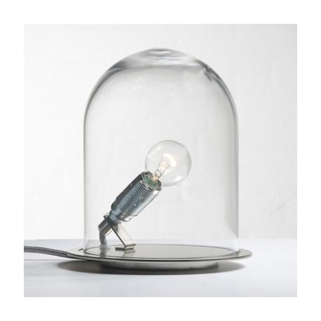 Lampe à poser Glow in a Dome, Ebb & Flow, transparent, base métal argenté, Diamètre 15,5 cm