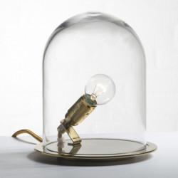 Lampe à poser dôme, Ebb & Flow transparent, douille laiton Diamètre 18 cm