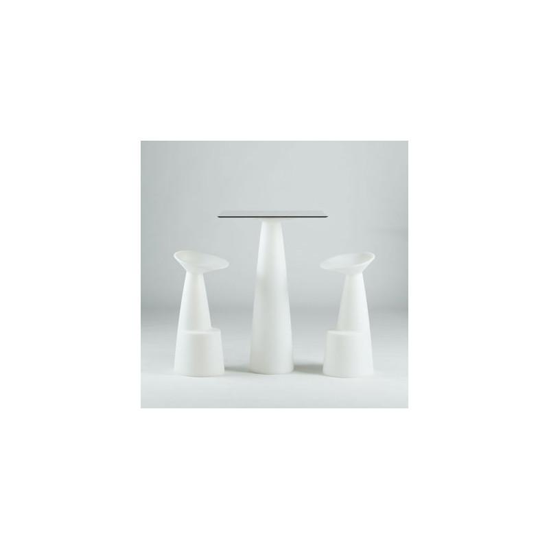 mange debout carr hopl slide blanc 79x79xh110 cm cerise sur la deco. Black Bedroom Furniture Sets. Home Design Ideas