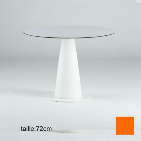 Table ronde Hopla, Slide design orange D69xH72 cm