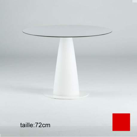Table ronde Hopla, Slide design rouge D79xH72 cm