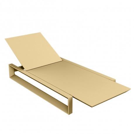 Chaise longue Frame beige mat, avec coussin tissu Silvertex, Vondom