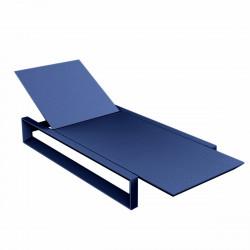 Chaise longue Frame bleu marine mat, avec coussin tissu Silvertex, Vondom