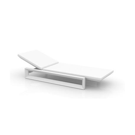 Chaise longue Frame blanc laqué brillant, avec coussin tissu Silvertex, Vondom