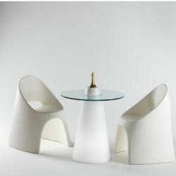 Table Peak 50, Slide Design blanc D80xH50 cm