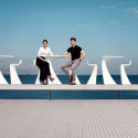 Table haute design Wing, Vondom blanc Mat