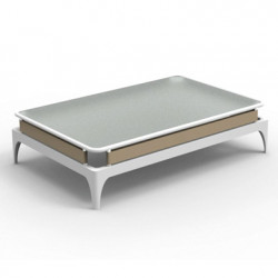 Table basse Stripe, Talenti blanc et taupe