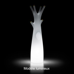 Porte-manteau arbre design Godot, Plust Collection blanc, embouts noirs Lumineux à ampoule