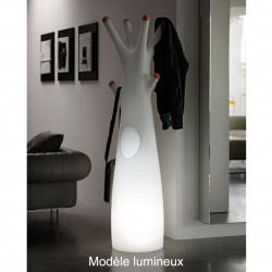 Porte-manteau arbre design Godot, Plust Collection blanc, embouts rouge Lumineux à ampoule