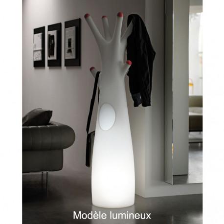 Porte-manteau arbre design Godot, Plust Collection blanc, embouts rouge Lumineux à ampoule