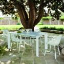 Table Grande Arche avec 1 rallonge, Fast blanc Longueur 160/210 cm