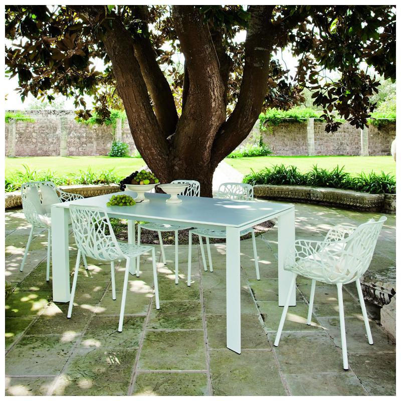 table grande arche avec rallonges fast blanc longueur 160 210 cm cerise sur la deco. Black Bedroom Furniture Sets. Home Design Ideas