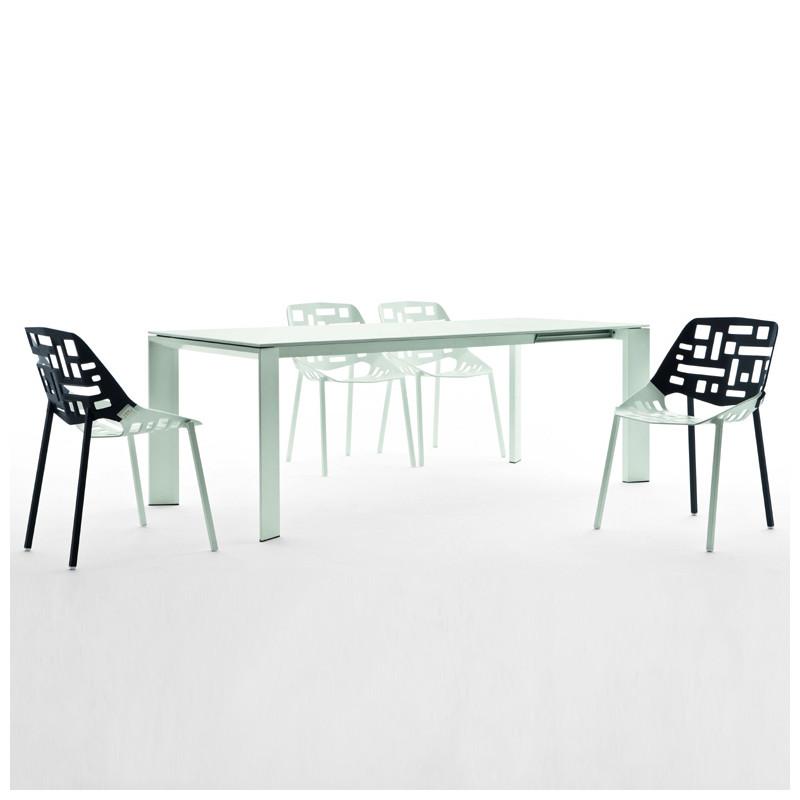 Table grande arche avec rallonges fast blanc longueur 160 for Table 160 avec rallonge