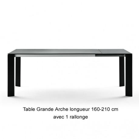 Table Grande Arche avec 1 rallonge, Fast noir Longueur 160/210 cm