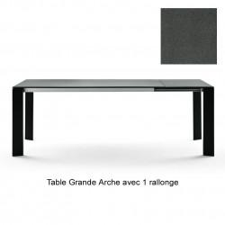 Table Grande Arche avec rallonges, Fast gris métal Longueur 160/210 cm