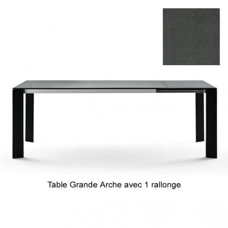 Table Grande Arche avec 1 rallonge, Fast gris métal Longueur 160/210 cm