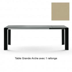 Table Grande Arche avec rallonges, Fast or perlé Longueur 160/210 cm