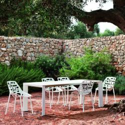 Table Grande Arche avec rallonges, Fast blanc Longueur 160/260 cm