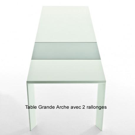 Table Grande Arche avec 2 rallonges, Fast blanc Longueur 160/260 cm