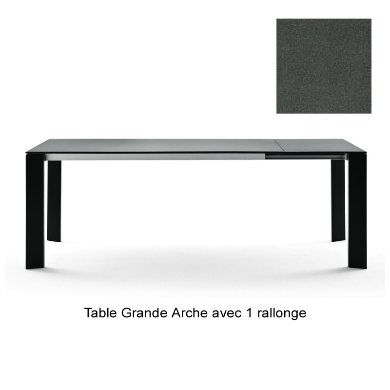 Table grande arche avec rallonges fast gris m tal for Table 160 cm avec rallonge
