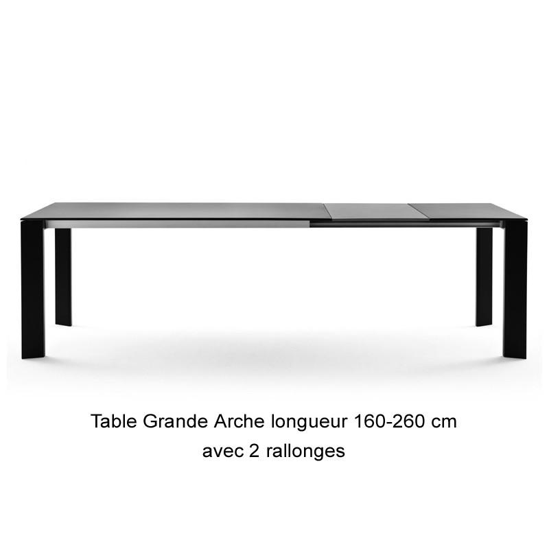 table grande arche avec rallonges fast gris m tal longueur 220 270 cm cerise sur la deco. Black Bedroom Furniture Sets. Home Design Ideas