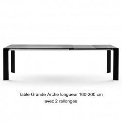 Table Grande Arche avec 2 rallonges, Fast noir Longueur 220/320 cm