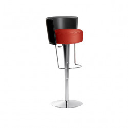 Tabouret design Bongo dossier cuir, hauteur d'assise réglable, Midj rouge
