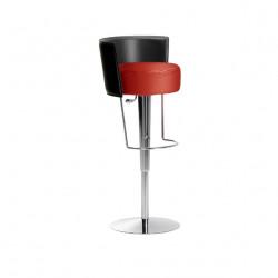 Tabouret design Bongo dossier cuir, Midj rouge