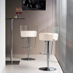 Tabouret design Bongo dossier transparent, Midj, hauteur d'assise réglable, assise similicuir blanc