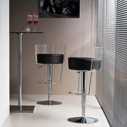 Tabouret design Bongo dossier transparent, Midj, hauteur d'assise réglable, assise similicuir noir