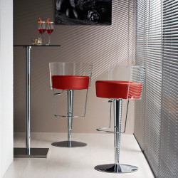 Tabouret design Bongo dossier transparent, Midj, hauteur d'assise réglable, assise similicuir rouge
