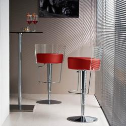 Tabouret design Bongo dossier transparent, Midj rouge
