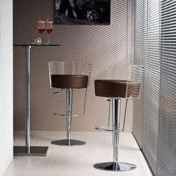 Tabouret design Bongo dossier transparent, Midj marron