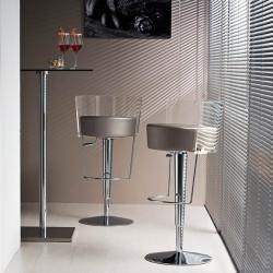Tabouret design Bongo dossier transparent, Midj, hauteur d'assise réglable, assise similicuir gris clair