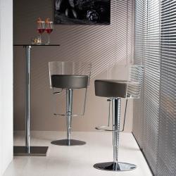 Tabouret design Bongo dossier transparent, Midj, hauteur d'assise réglable, assise similicuir gris foncé