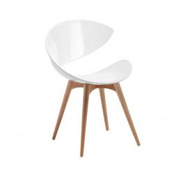 Chaise design Twist pieds bois, Midj blanc